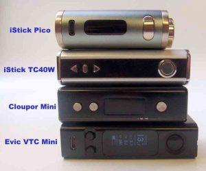 Vergleich: iStick Pico, iStick TC40W, Cloupor Mini, Evic VTC mini